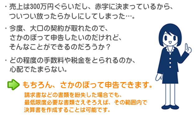 売上は300万円ぐらいだし、赤字に決まっているから、ついつい放ったらかしにしてしまった。